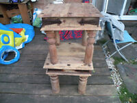 Small Wooden stool x2 (probably OAK).Very heavy and solid.Partially restorated