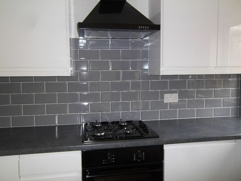 grey kitchen tile new 3 square meters gloss grey bevelled metro wall tiles 1505