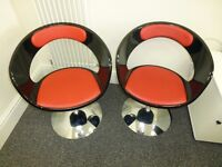 Trendy swivel armchairs (black-red faux leather) lounge chairs, great condition!