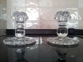 Vintage 1930's crystal glass candle holders x 2