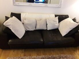 Dark brown 3 seater leather sofa and swivel chair