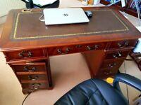Beautiful mahogany leather inset desk