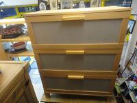A NICE IKEA LIGHT WOOD EFFECT CHEST OF 3