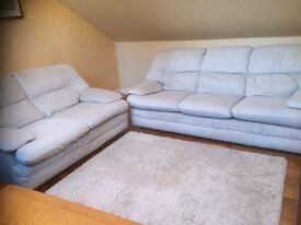 Three and two seater sofas, light grey