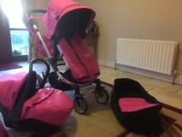 Babi 3 piece travel system, changing bag, pram,stroller, car seat , perfect condition like new