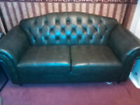 Green Leather Chesterfield Sofa two seater