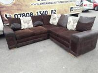 Brown suede and fabric corner group sofa £350 mint mint condition