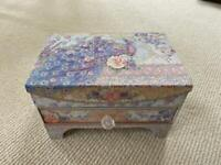 Peacock and Floral Jewellery Box with Drawer and Mirror