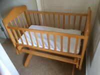Cosatto pine gliding crib with mattress