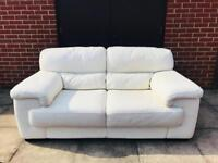 2 matching cream leather sofas in excellent condition