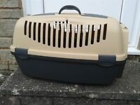 Cat or Dog (miniture) plastic beigh carry box AS NEW.