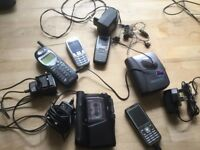 Mobile phone several kinds with chargers, plus a Sony walkman