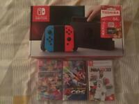 Nintendo switch new with 3 games and a new SD card