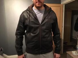 Dark Brown Real leather hooded jacket