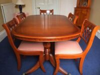 Beautiful Polished Yew Extendable Dining Table and 6 Chairs in Immaculate Condition