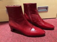 Red, real leather, zara boots with small heel, size 38