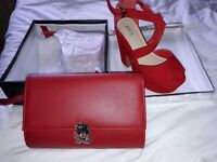 Matching high wedges and clutch bag