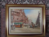Oil Painting of Charing Cross Glasgow With Trams 1950s by Glasgow Artist Peter Merriman