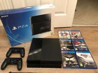 Sony PS4 500gb jet black 2 controllers 6 games mint hardly used