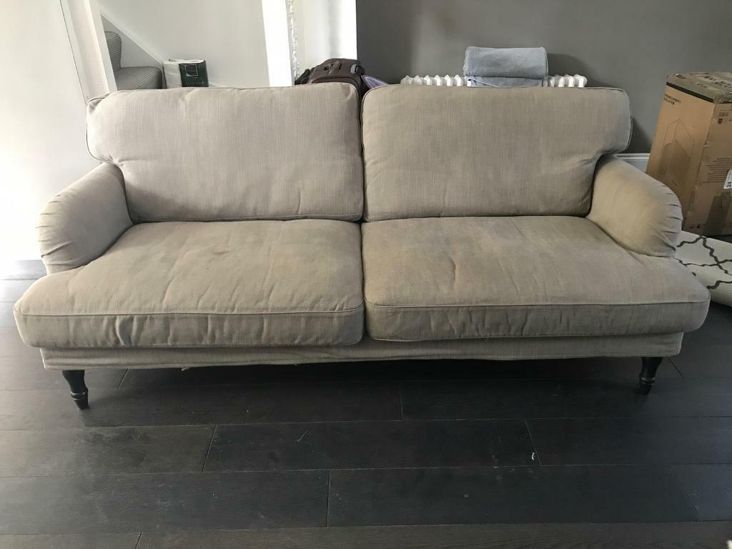 ikea stocksund 3 seat sofa 2 armchairs ottoman in nolhaga grey beige in angel london gumtree. Black Bedroom Furniture Sets. Home Design Ideas