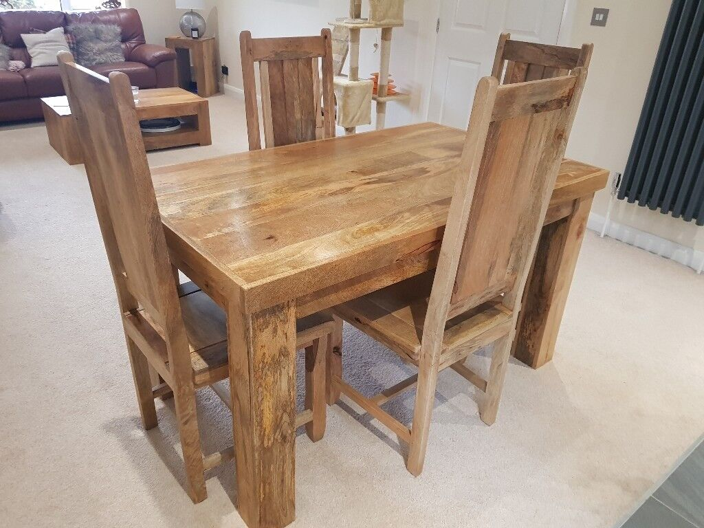 Oak Furniture Land Mantis Mango Dining Room Table And 4 Chairs