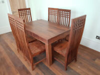BRAND NEW SOLID WOOD DINING TABLE AND 6 CHAIRS (VERY HEAVY)