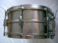 "Premier Dominion Major NOB snare drum 14 x 6 1/2"" - England - Vintage. - Modded"