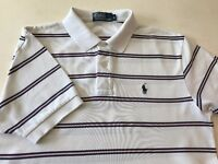 RALPH LAUREN POLO Shirt Mens Classic Fit White Striped t-shirt boys unisex Medium Large M RRP £75