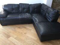 FREE Corner leather black sofa