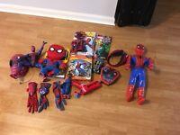 Spider-Man toy bundle, web shooter gloves, books etc