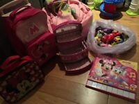 Girls Minnie Mouse trolley and piano book. Me to you beanbag, make up case and bag of figures