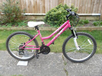 Girls Pink Diva Mountain Bike - 24 Inch Wheels - 14 Inch Frame - 18 Gears - Front Suspension