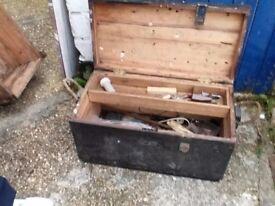Vintage carpenters pine toolbox
