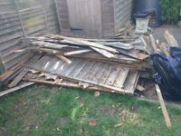 Old wood fence panels, fire wood, spare planks