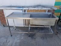 COMMERCIAL STAINLESS STEEL SINGLE BOWL SINK LARGE CATERING BIG BOWL KITCHEN SINK