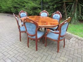 Renaissance Style Carved Mahogany Table & Chairs