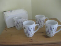 Set of 4 lavender patterned mugs - new in box