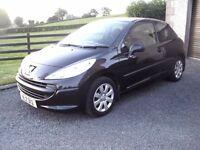 2008 Peugeot 207, 1.4 Urban, 3dr, black, long MOT, not corsa, clio, fiesta, c3, polo, ibiza,
