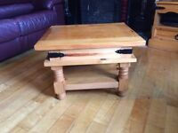 2 solid pine tables and tv cabinet £30