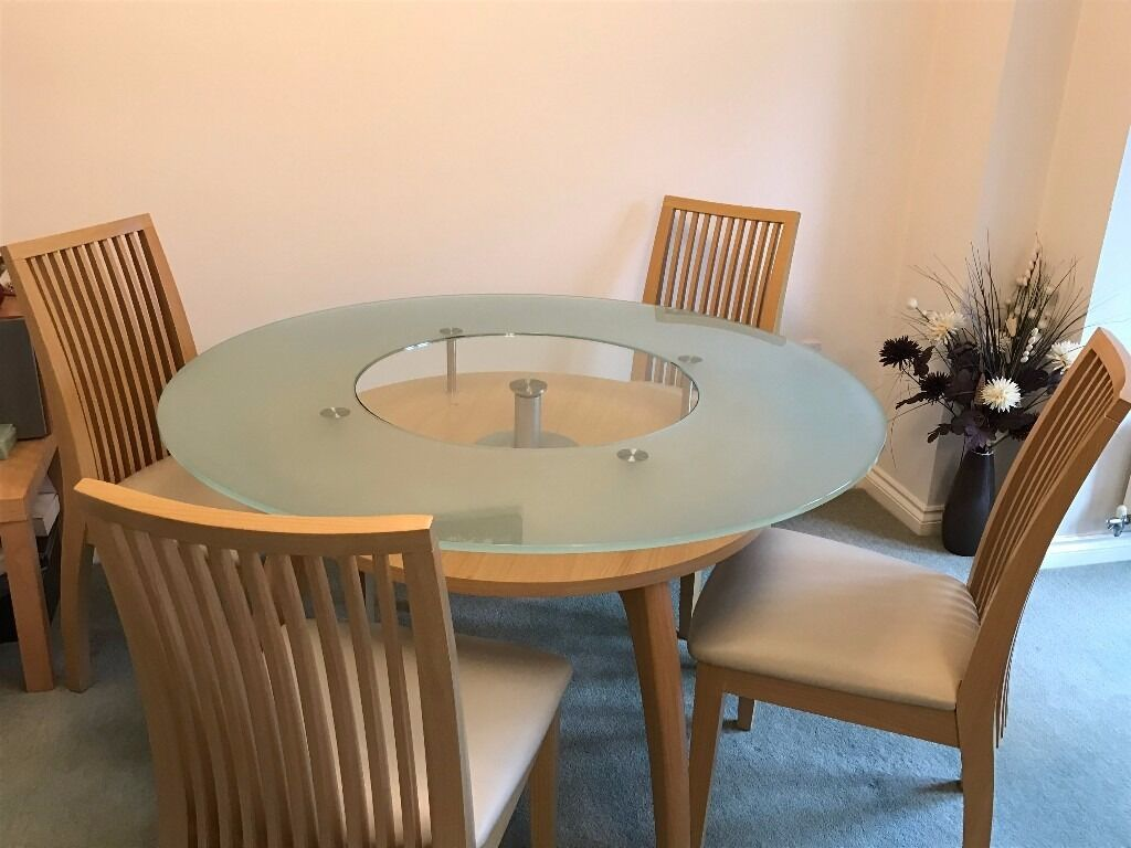 4ft Round Glass Dining Table With 4 Chairs