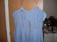 school dresses x 2 - light blue chequered with scrunchies - 13/14 yr