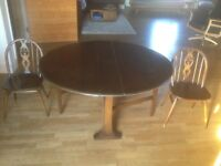 Ercol Table and Chairs Vintage Retro Perfect for Flat Small Home Text for Delivery Options