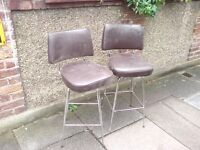 TWO 1960's CHROME STEEL SWIVEL BAR STOOLS