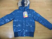 Blue power down filled puffa jacket age 10/12 new