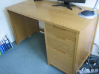 desk for home office, solid oak, 3 drawers