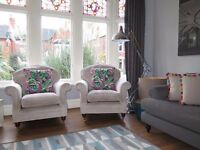 Pair 2 x LAURA ASHLEY 'Hertford' Chairs Armchairs In 'Villandry Sable' Chenille