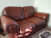 Brown 2-seater leather sofas (set of 2)