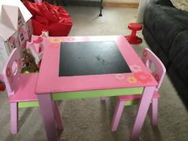 Childs table +2solid wooden chairs/ high chair and cot