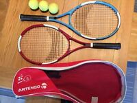 Two Tennis Rackets with Carrying Case and Tennis Balls Included