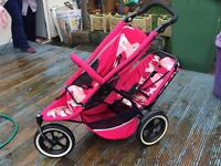 Phil and teds double pram pink